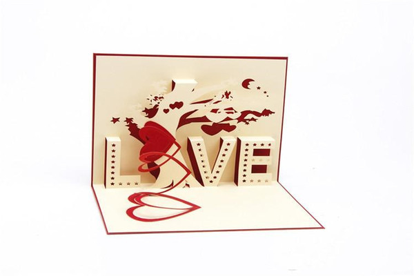 """3D handmade creative greeting cards Three dimensional """"LOVE"""" tree Love and wedding memory CARDS Paper carving gift card"""