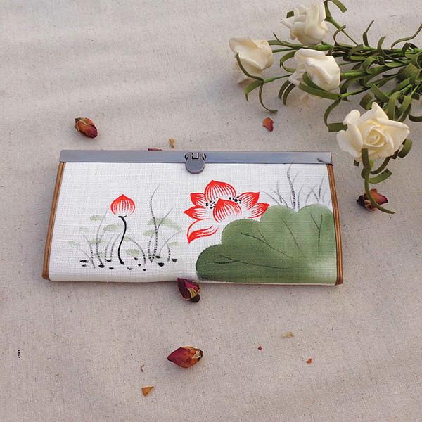 2017 neue Leinwand Lange Brieftasche Chinesischen Ethnischen Stil Nationalen Hand Malerei Lotus Plum Geldbörse Damen Clutch Münztüte