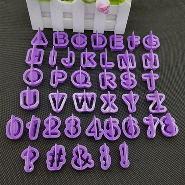 2018 40pcs Cute Alphabet Number Letter Character Fondant Cake Decorating Set Icing Cutter Mold Moulds Cake Tools