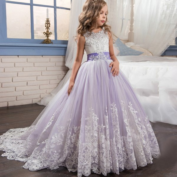 best selling 2018 Beautiful Purple and White Flower Girls Dresses Beaded Lace Appliqued Bows Pageant Gowns for Kids Wedding Party