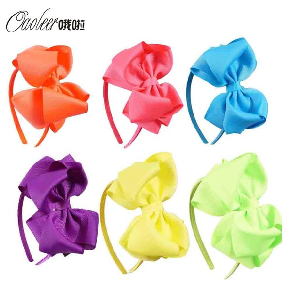 Girls 12pcs Lot Neon Color Hairband Handmade Boutique Hair Bow Band Ribbon Bow Children Hair Accessories