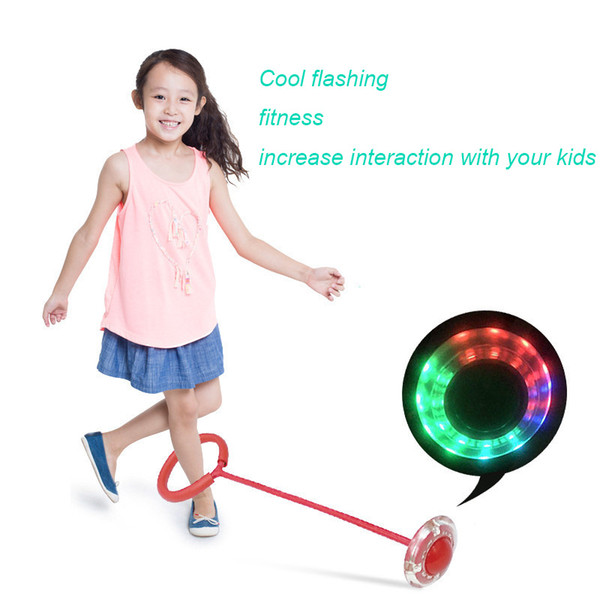 Flashing Jumping Ball Outdoor Bouncing Fun fitness Balls for Kids Sport Ankle Skip Color Rotating Ball Permanent luminous