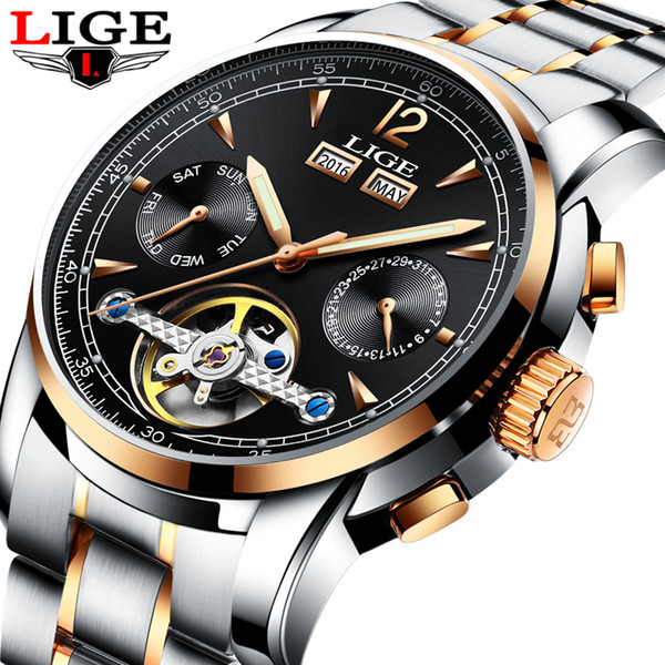 men watches luxury brand lige mechanical sports watch mens fashion business automatic watch man relogio masculino, Slivery;brown