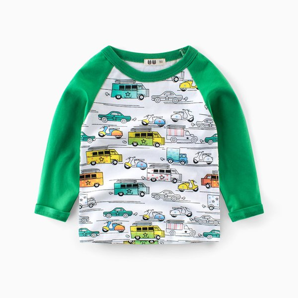 Autumn Kids Boys Long Sleeve T-shirt Warm Cotton Basic Tee Shirt Car Printed Breathable Round Neck Kids Tops Clothing