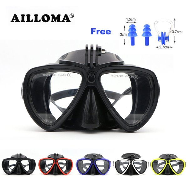 Ailloma Scuba Underwater Anti Fog Camera Mount Stand Diving Masks Anti -Skid Tempered Glass Silicone Pvc Swimming Masks Goggles