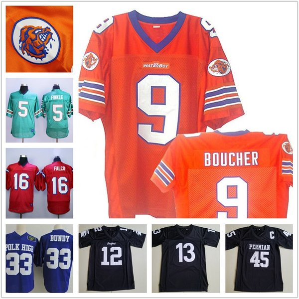 Men's Bobby Boucher MOVIE The Waterboy Mud Dogs Football Jerseys WILLIE BEAMEN 45 Boobie Miles 33 Al Bundy 5 Ray Finkle