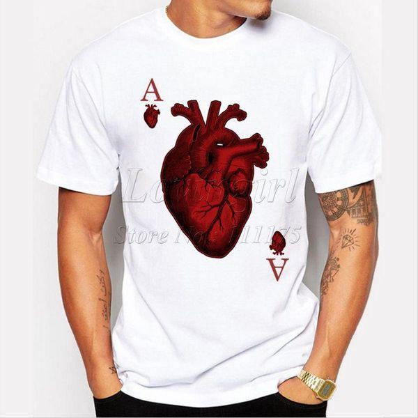 T-shirt do poker do coração Harajuku engraçado camisetas Hipster O-pescoço legal tops harajuku Verão 2018 tshirt