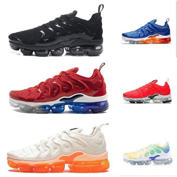 2019 TN Plus TNS Métallisé Olive Rouge Jaune Noir Femmes Chaussures Pour Hommes Courir Designer Chaussures Sneakers Formateurs Taille 36-45