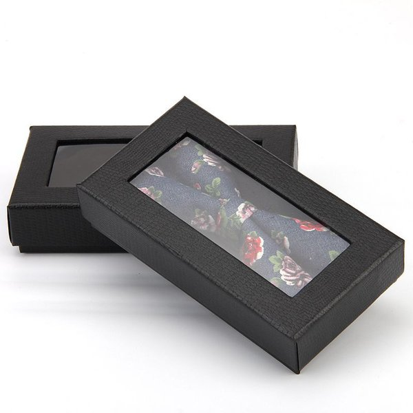 Black cover paper packing box with plastic pvc window wig gift wallet tie packaging paper carton box LX0634