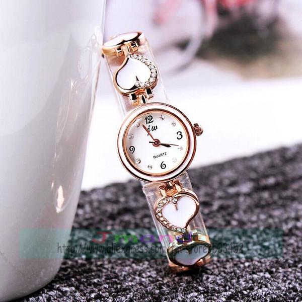 100pcs/lot jw-8201 heart design crystal lady bracelet watch white black rose gold elegance women wrist watch elegance clock