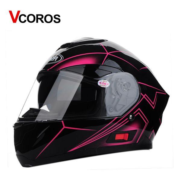 Vcoros Full Helmet Motorcycle Helmet with inner sun shield lens racing motorbike DOT Approved Capacete Casco moto Helmets