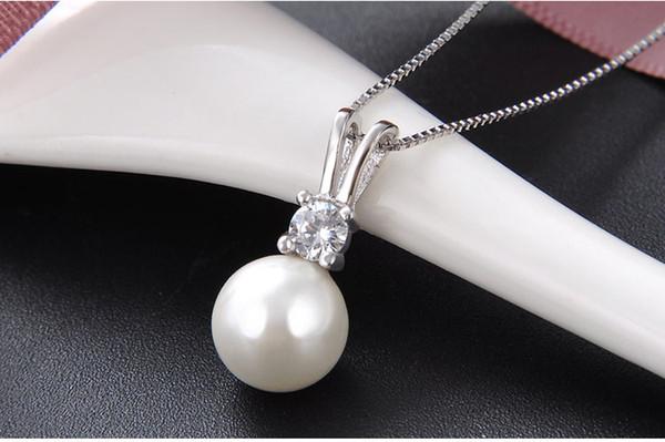 Perla Trébol Colgante Collar de plata esterlina 925 Cadena para Mujer Joyería Regalos