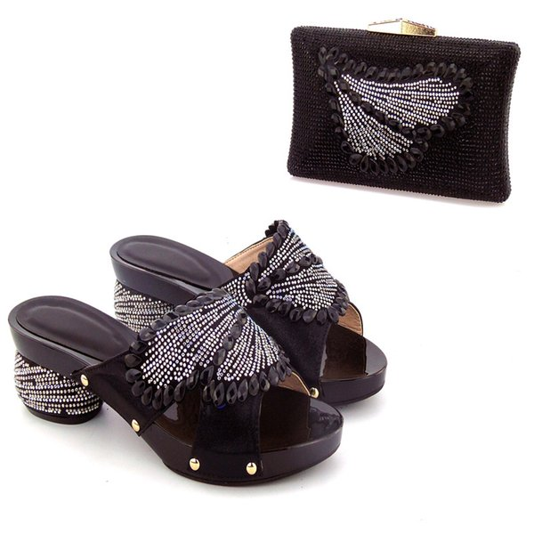 2018 Latest Roayl Black Italian Wedding Shoes And Bag Set Top Selling Fashion African Woman High Heels Pumps With Matching Bag