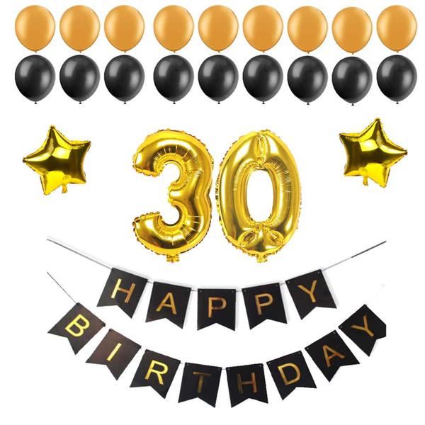 40 50 60 30 Jahre alt Alles Gute zum Geburtstag Papier Bunting Banner Anzahl Folie Latex Luftballons Geburtstag Party Dekoration Lieferungen schwarz
