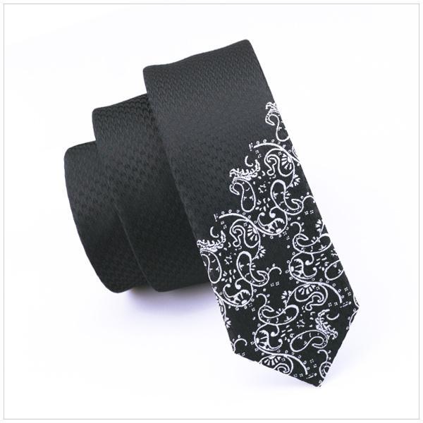 2017 Fashion Slim Krawatte Schwarz mit Silber Skinny Schmale Gravata Silk Krawatten Für Männer 5,5 cm Breite Brautkleid E-204