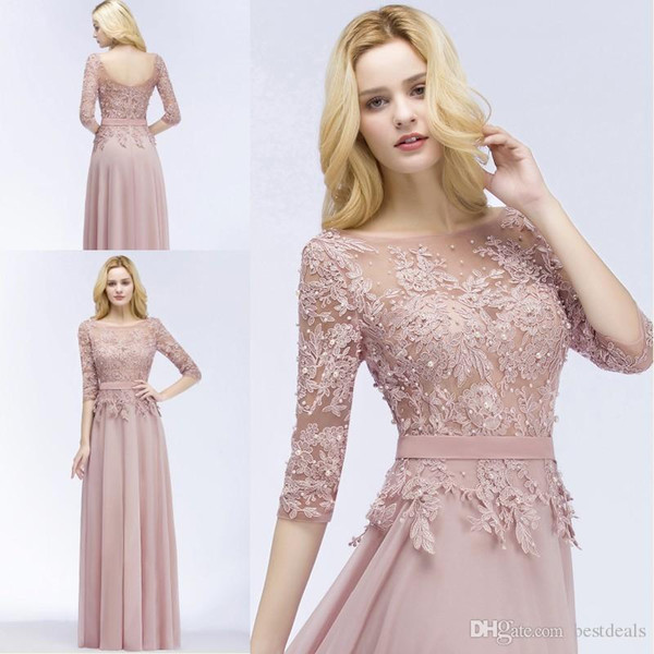 Cheap Evening Dresses 2018 New Designer Blush Pink Long Prom Dresses with Half Sleeves Beaded Appliqued Cheap Party Formal bridesmaid dress