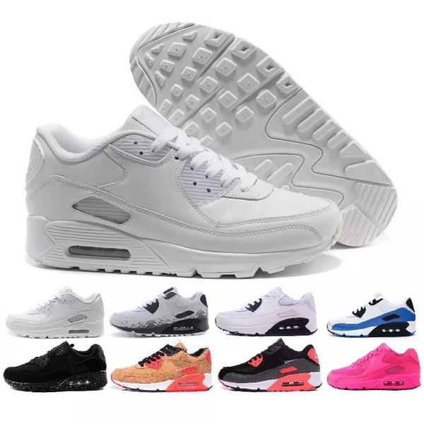 Großhandel Nike Air Max Airmax 90 Neue Männer Frauen Schuhe Klassische 90 Männer Und Frauen Laufschuhe Schwarz Rot Weiß Sport Trainer Luftpolster