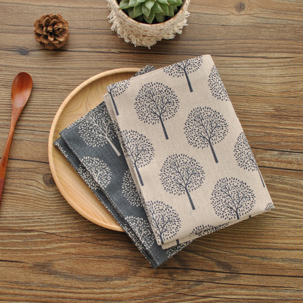 best selling Classical Style Table Napkin Cotton and Linen Pad Tea Towels Both Sides Printed Traycloth Double Layers Tree Print Napkins 40*30cm