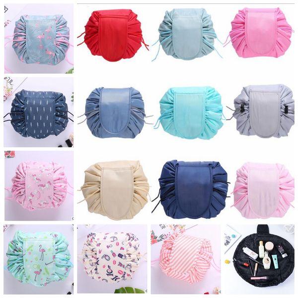 best selling 16 design Lazy Makeup Bag Organizer Drawstring Cosmetic Bag Animal Flamingo Travel Make Up Organizer Storage Pouch Toiletry Kit KKA5656