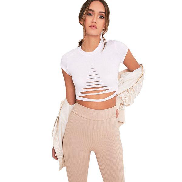 2018 new sexy hole t-shirt round neck plain white ripped short sleeved slim t shirt female cut out cutout tee feminina.WF1-80992