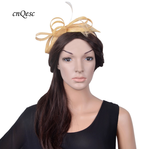 NEW elegant champagne gold Small Fascinator Sinamay hat bridal accessories for Kentucky Derby Wedding races party