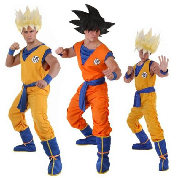 Z Suit Son Goku Cosplay Costumes Top/Pant/Belail/wrister/Wig For Adult Kids