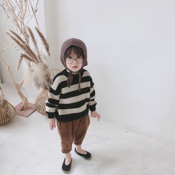 Compre Baby Girl Sweater 2018 Otoño Invierno Niños Pullover Raya De ...