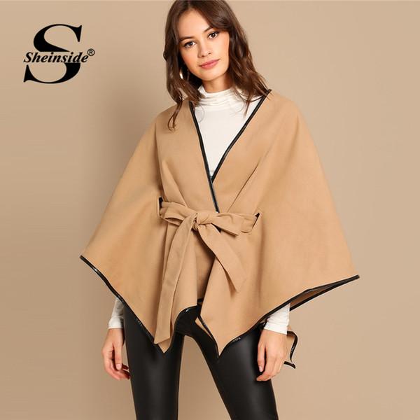 Sheinside Khaki Knot Front Solid Coat Women Autumn Flare Sleeve Belted Jacket 2018 Long Sleeve Tops V neck Fashion Ladies Coats
