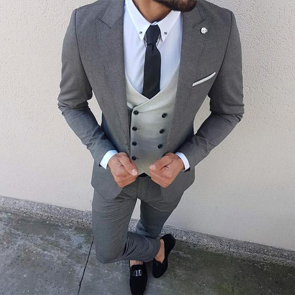 Três peças de casamento homens ternos para groomsmen smoking paletó blazer de lapela blazer jaqueta cinza calças colete feito sob medida terno masculino