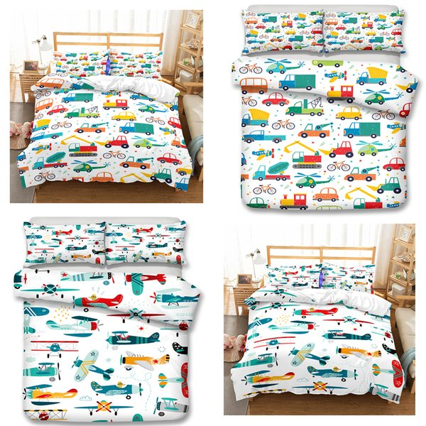 Kids Bedding Sets Cartoon Cars and Airplanes 3pcs Duvet Covers Pillow Case Twin Size All Size C