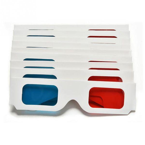 10 unids / lote Anaglyph Cartulina Papel Rojo Azul Cian 3D Gafas para Película