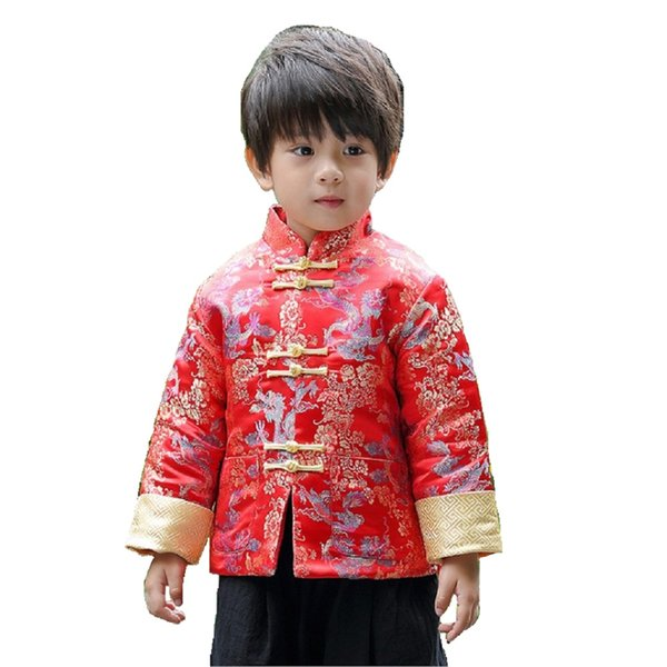 2018 New Year Festival Children Coats Quilted Boys Tang Clothes Costumes Baby Boys Jackets Red Navy Dragon Outfits Outerwear Top