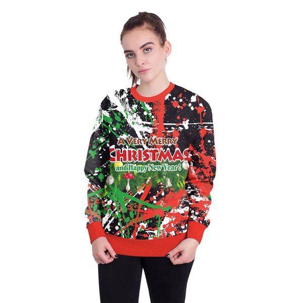 fashion merry christmas letter printing sweatshirts happy new year novelty xmas hoodies couples streetwear winter pullover