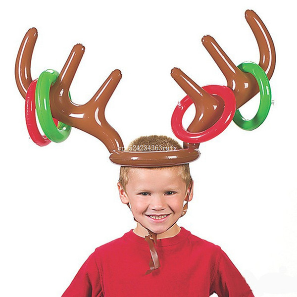 50pcs Inflatable Reindeer Antler Hat Ring Toss Christmas Party Reindeer Antler Headgear Funny Game Supplies Toys