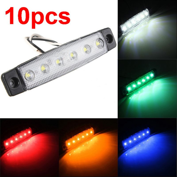 10pcs 6 LED Red White Blue Amber Clearence Car Truck Bus Lorry Trailer Side Marker Indicators Light Lamp 12V