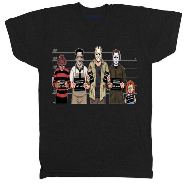 Suspeitos usuais Horror Black Mens Filme Filme Culto Vampiro Assassino Zumbi T Shirt