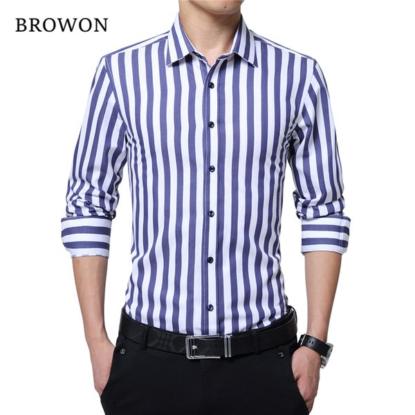 BROWON Brand New Men Striped Casual Shirts Long Sleeve Mens Cotton Shirts Turn Down Collar Chemise Homme Plus Size 5XL D18102408