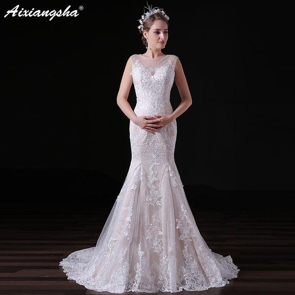Abiti Da Cerimonia Wedding.Cheap White Lace Mermaid Wedding Dress Scoop Wedding Gowns Long