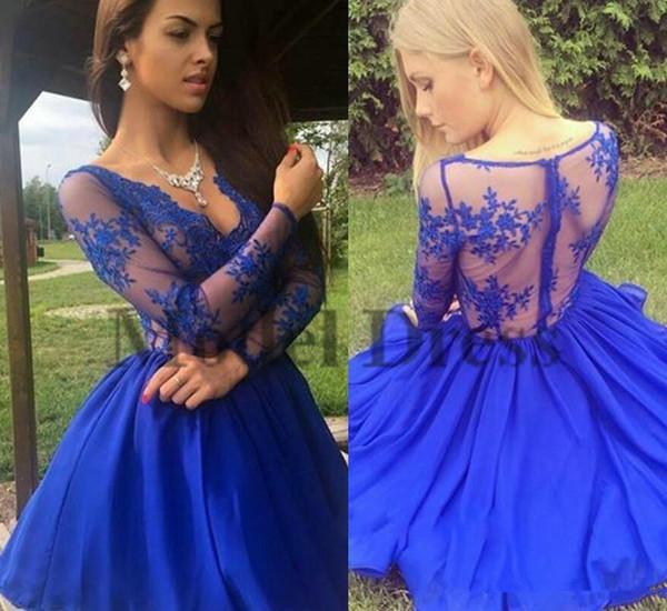 Sexy Vedere attraverso Royal Blue Abiti Homecoming Breve Una linea in Chiffon lungo Sleeevs V Neck Lace Mini abiti da festa per ragazze Prom Graduation