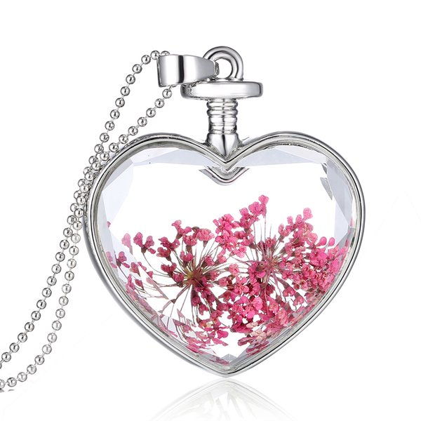 Dried Flowers Necklace , Heart Flower Bloom Flower Plant Specimen Pendant Clavicular Chain Crystal Transparent Glass Photo Box Jewelry Women