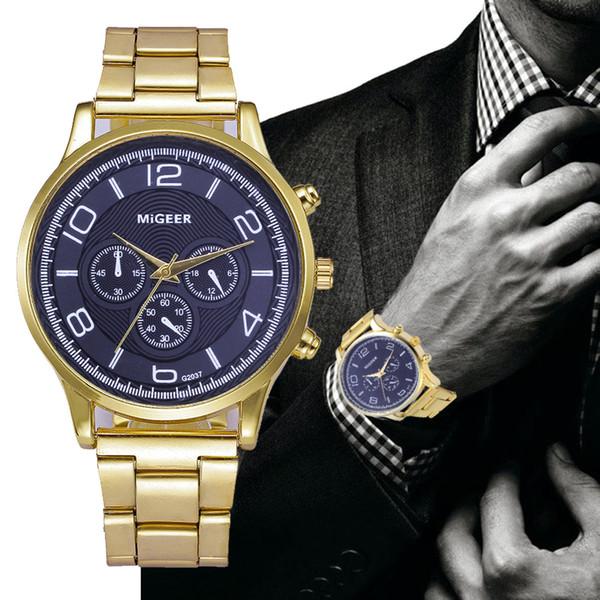 2018 Best Sell Watch Homens Moda Homem de Luxo de Cristal De Aço Inoxidável Relógios de Quartzo Analógico Relógio de Pulso relogio masculino erkek kol