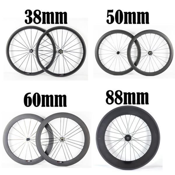 Bicicleta de carretera 700C 23 mm Ancho Clincher / Ruedas tubulares de carbono 38 mm 50 mm 60 mm 88 mm Profundidad Novatec271 / 372 Cubo de bicicleta Ruedas Ruedas de bicicleta de carbono