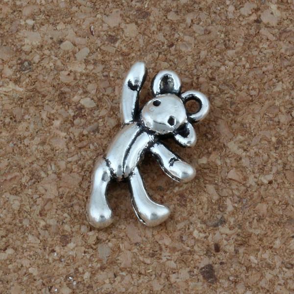 Oso Encantos Colgantes 100 Unids / lote 10.5 x19.5mm Joyería de Moda de Plata Antigua DIY Fit Pulseras Collar Pendientes