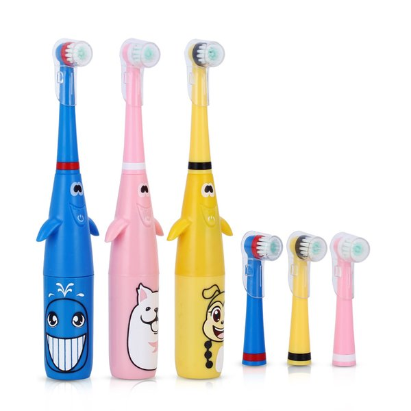 Children Electric Toothbrush Cartoon Pattern Rotating Battery Type Tooth Brush + Replacement Heads for Kids Teeth Whitening