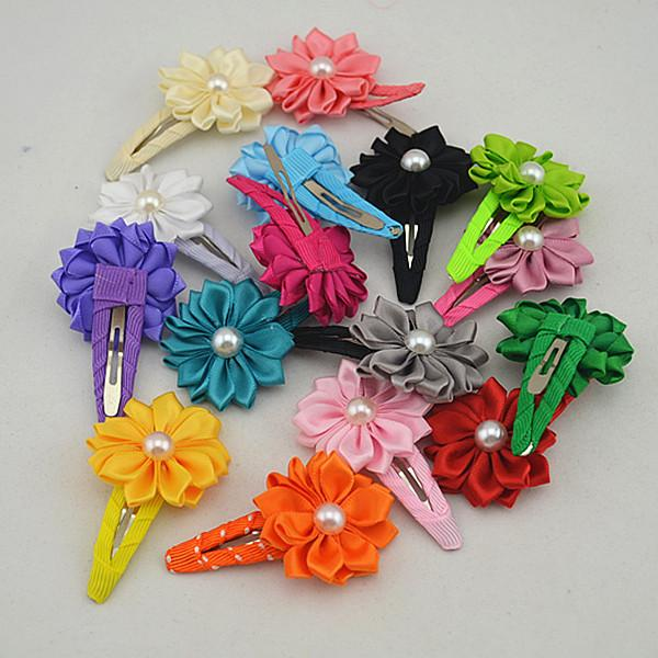 17pcs high-quality polygonal satin face with pearl flower hairpins of children hair clips of the baby FJ042