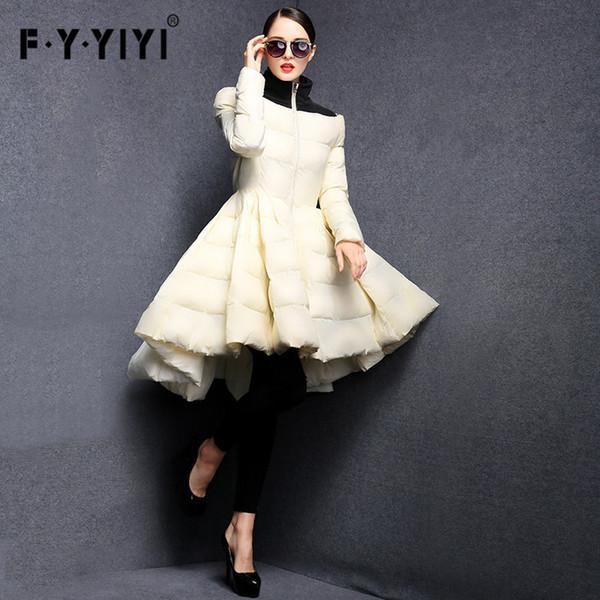 2019 FYYIYI Faltenrock 2018 Neue Art- und Weisefrauen-Winter-unten Jacken wärmen langen dünnen Mantel-weibliche große Schwingen-Damen Outwear Kleid