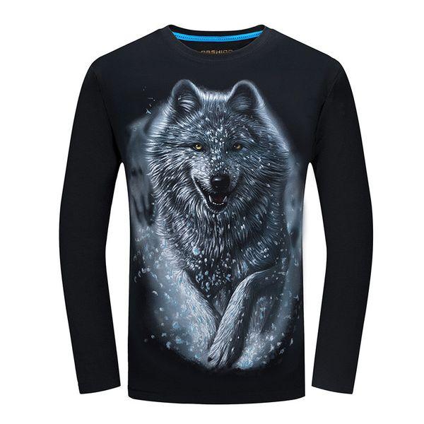 Comercio al por mayor 2018 Cheapest Moda Hombres camiseta de manga larga diseño fresco 3d camiseta divertida homme Lobo Impreso top casual Más Tamaño 5xl