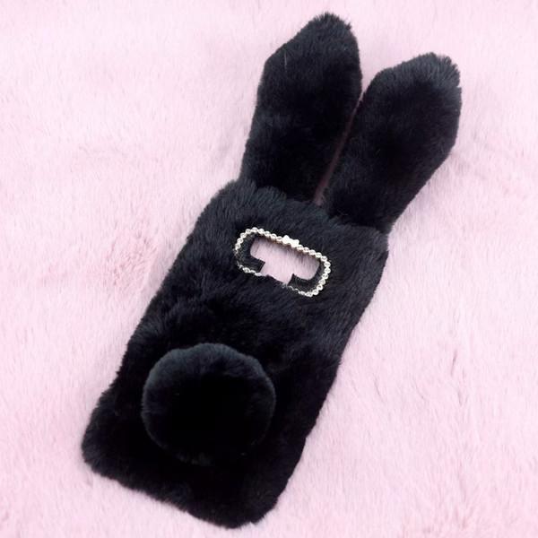 Note9 3D Rabbit Ear Case For Samsung Galaxy Note 9 J4 J8 2018 LG Q7 Rabbit Hair Bling Diamond Fluffy Fur Cover Soft TPU Tail Phone Skins