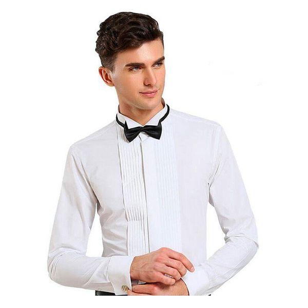 Wholesale-2016 Mens Dress Shirts Luxury Brand Men Tuxedo Shirt Wedding Long Sleeve Formal Shirt For Men Cotton White Plus Size 5XL Chemise