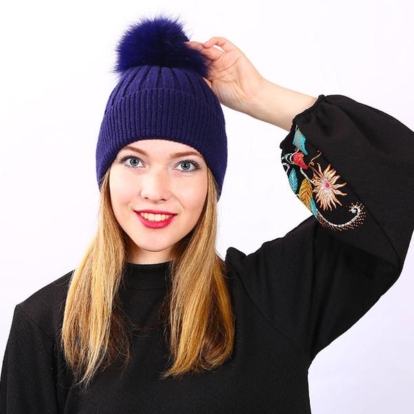 Fox Pompons Chapeaux pour Femmes Couleur Unie Amovible fourrure pompon ball laine tricoté skullies bonnets Chaud chapeau 2018 automne hiver chapeau